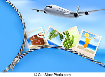 Background with airplane and with photos from holidays. ...