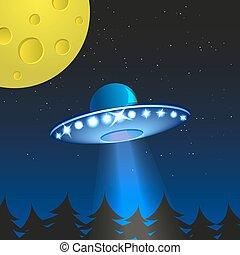 Background with alien spaceship. World UFO day.