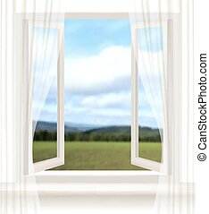 Background with an open window and a landscape. Vector.