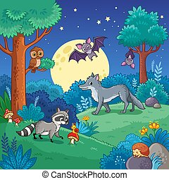 Background with Animals in the night forest.