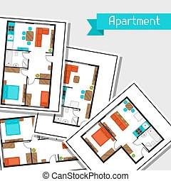 Background with architectural projects of apartment and furniture