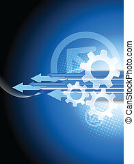 Background with arrows and gears. Abstract tech illustration