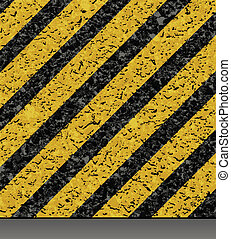 Background with asphalt road texture and hazard stripes.