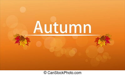 Background with autumn leaves and a white line