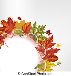 Background with autumn leaves and l