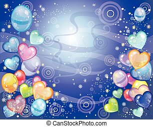 Background with balloons dark blue