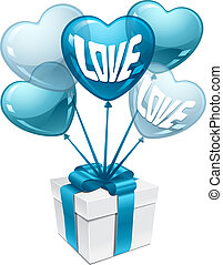 Background with balloons in the shape of heart and gift box.