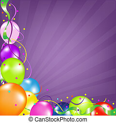 Background With Balloons With Sunburst - Colorful Party...
