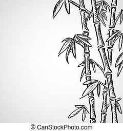 Background with bamboo stems. Ink sketch style