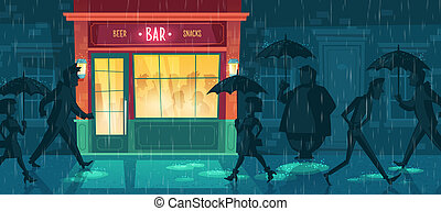 background with bar, night cafe in rain