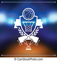 Background with basketball, ball, hoop and labels.