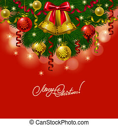 Background with baubles, christmas tree.