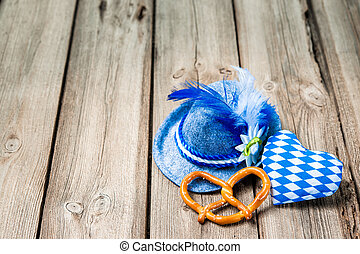 Background with Bavarian hat and heart