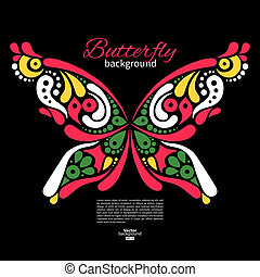 Background with beautiful butterfly. Tattoo illustration