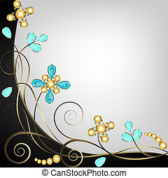 Background with beautiful floral jewelry pattern border