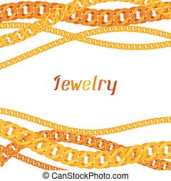 Background with beautiful jewelry gold chains.