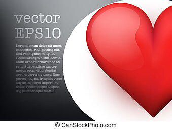 Background with beautiful realistic heart. Vector. - Dark...