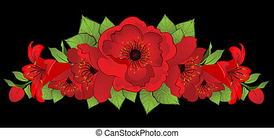 Background with beautiful red poppy