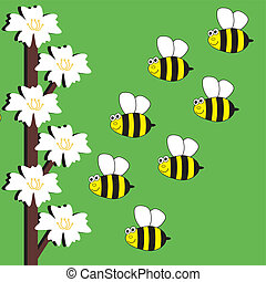 background with bees and flowers