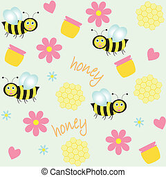 background with bees and honey
