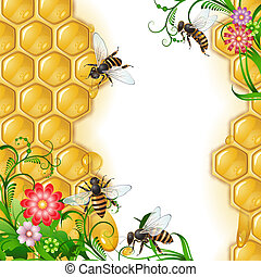 Background with bees and honeycomb - Background with bees, ...