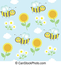 background with bees, sunflowers and camomiles