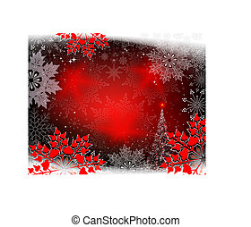 Background with big red snowflakes and a shining Christmas tree.