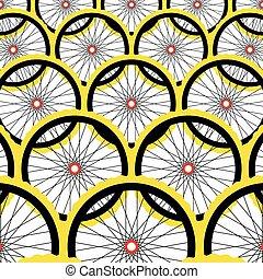 Background with bike wheels.