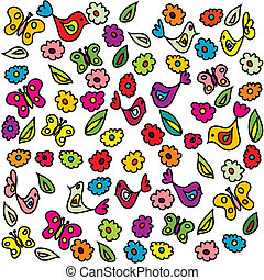 Background with birds, butterflies and flowers, pattern for kindergarten
