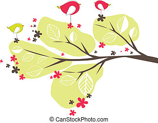 Background with birds, tree. Vector illustration - ...