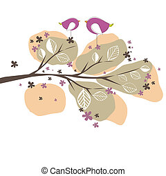 Background with birds, tree. Vector illustration