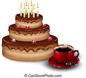 Background with birthday chocolate cake and a cup of coffee. Vec
