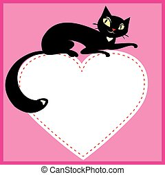 Background with black cat on white heart
