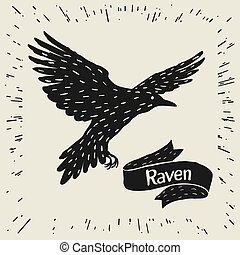 Background with black flying raven. Hand drawn inky bird and ribbon