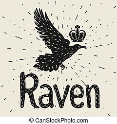 Background with black flying raven. Hand drawn inky bird and crown
