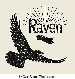 Background with black flying raven. Hand drawn inky bird