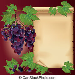 Background with black grapes and old paper - place for your text, decorated with grape leaves and grapevine