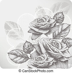 Background with blooming roses and glamorous lace,...