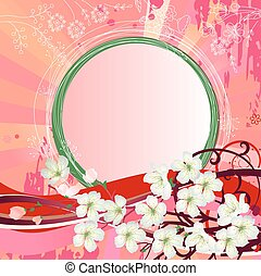 Background with blossoming branch