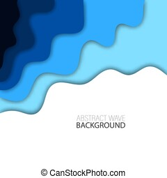 Background with blue abstract multilayered wavy pattern. Paper cut art style. Template design for posters, banners, flyers, booklets.