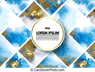 Background with blue and gold marble watercolor texture. Vector illustration