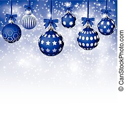 Background with Blue Christmas ball