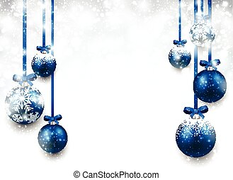 Background with blue christmas balls.