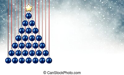 Background with blue Christmas tree.