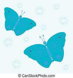 background with blue flowers and butterflies