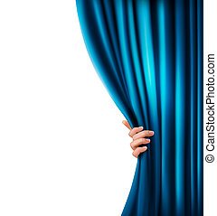 Background with blue velvet curtain and hand. Vector...