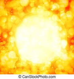 Background with bokeh effect. Blurred christmas sparkling lights for Xmas holiday design in golden colors. Vector