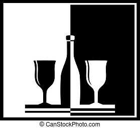 background with bottle and wine glass