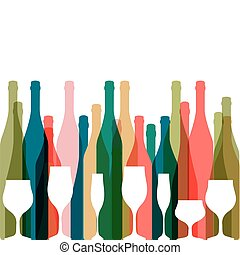 Background with bottles of alcohol