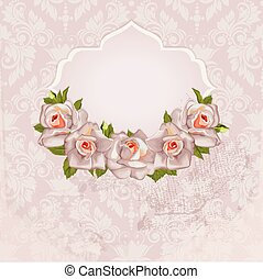 Background with bouquet of roses with leaves. Wedding card or in